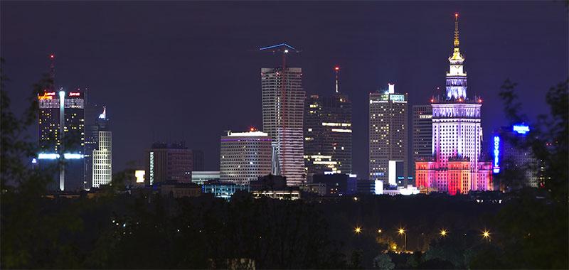 Warszawa nocą z Kopca Powstania Warszawskiego, 05.2012 - 03.05.2012