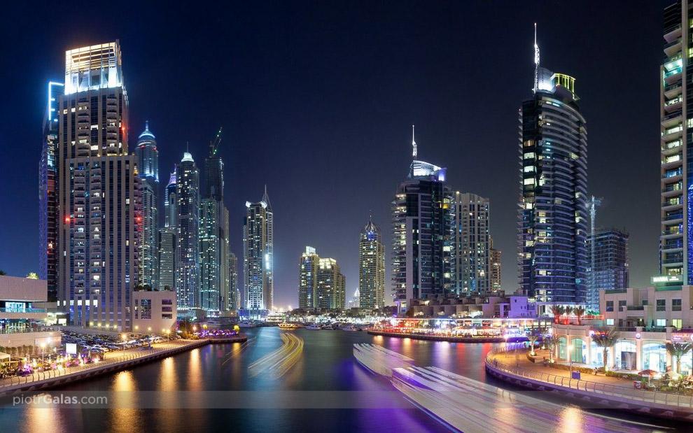 Dubai Marina by night - panorama