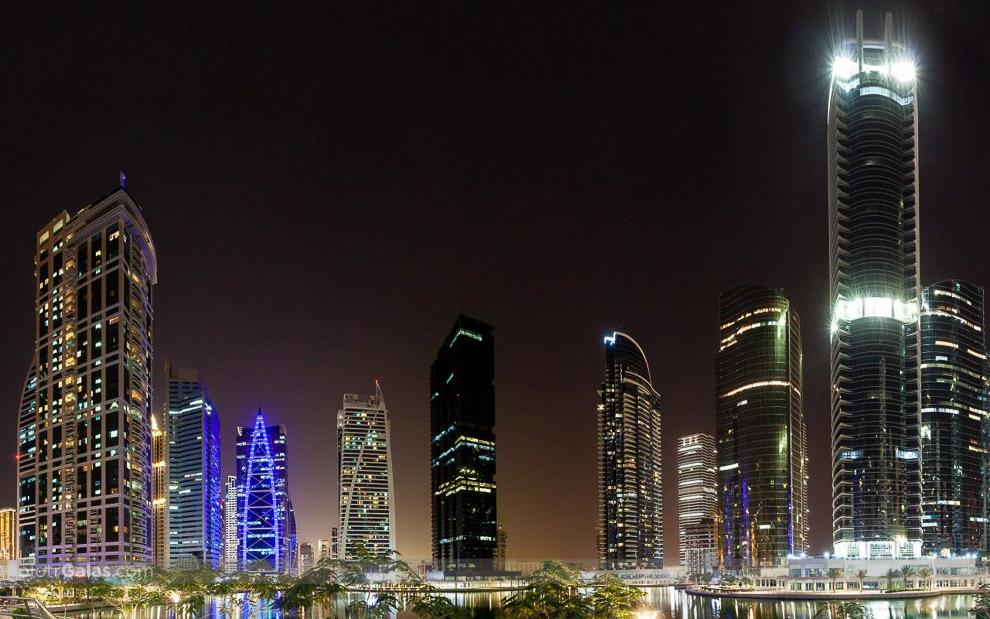 Dubai Lake Towers by night - panorama