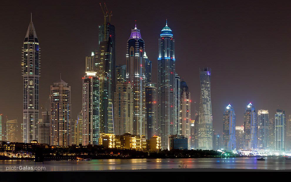 Jumeirah Beach Residence by night - Dubaj - panorama